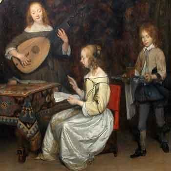 Gerard ter Borch - Le concert - chanteuse et joueuse de luth theorbe 1657